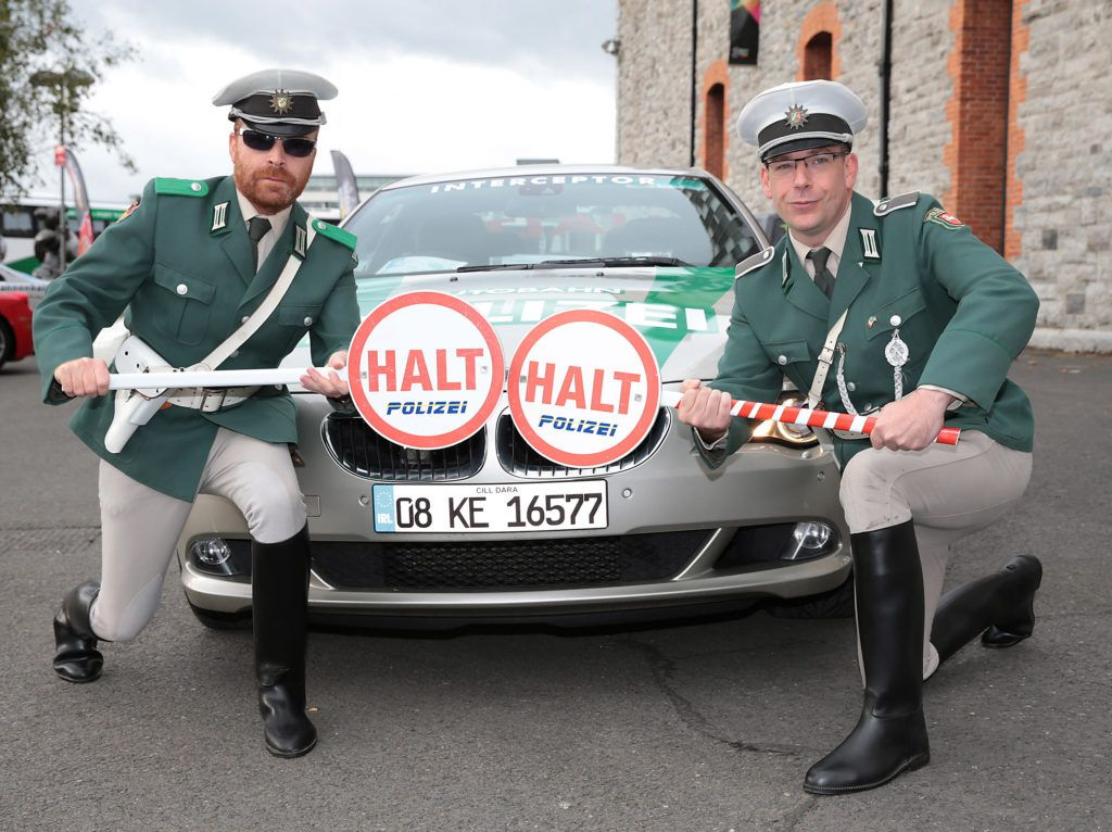 Hans and Jurgen of Polizei Squad at the start of the Cannonball Supercar 2016 event at Point Village Dublin. Proceeds from this year's Supercar spectacle will go to the Pieta House charity (Photo by Brian McEvoy).