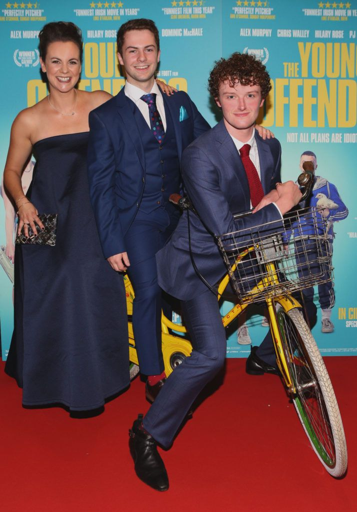 Hilary Rose, Alex Murphy and Chris Walley at the Irish premiere screening of The Young Offenders at Cineworld, Dublin (Photo by Brian McEvoy).