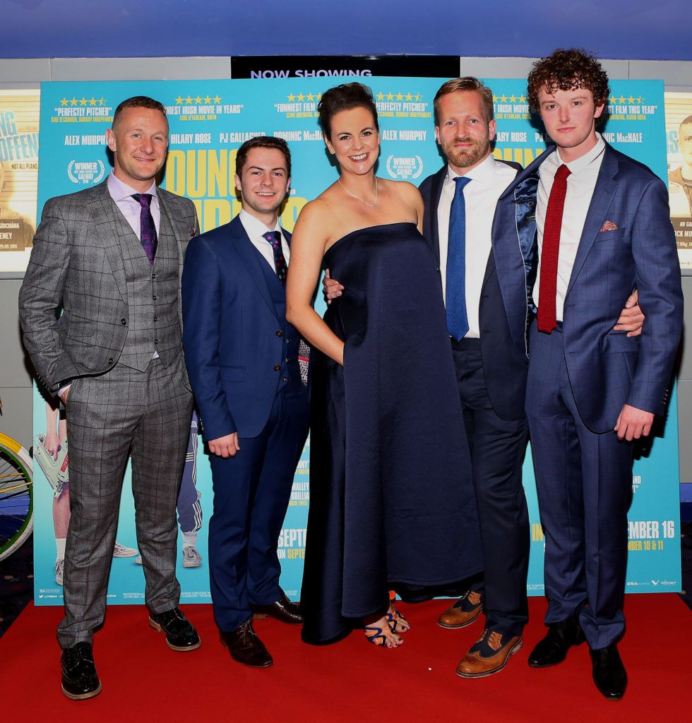 PJ Gallagher, Alex Murphy, Hilary Rose, Peter Foott and Chris Walley at the Irish premiere screening of The Young Offenders at Cineworld, Dublin (Photo by Brian McEvoy).