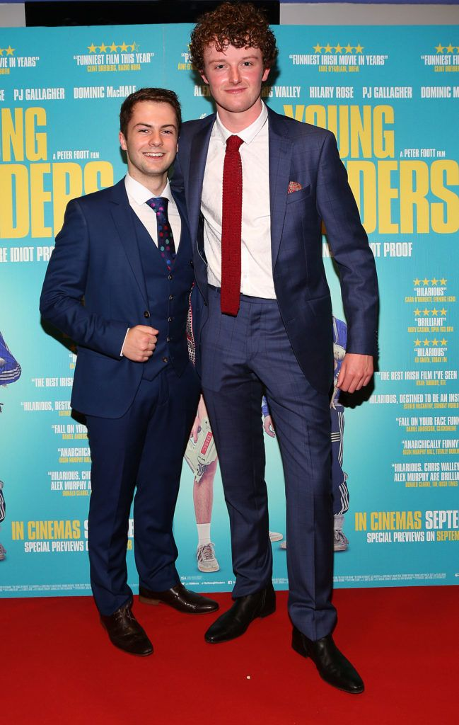 Alex Murphy and Chris Walley at the Irish premiere screening of The Young Offenders at Cineworld, Dublin (Photo by Brian McEvoy).