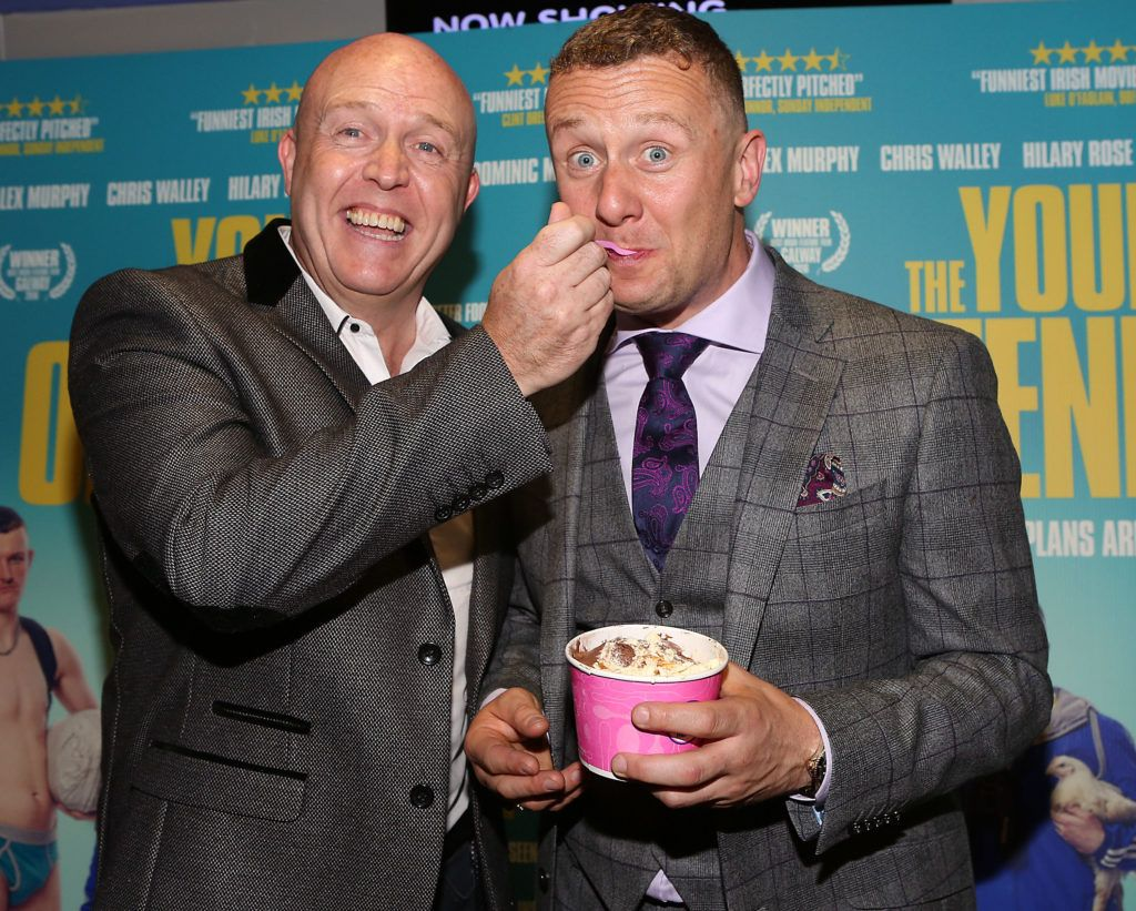 Jim McCabe and PJ Gallagher at the Irish premiere screening of The Young Offenders at Cineworld, Dublin (Photo by Brian McEvoy).