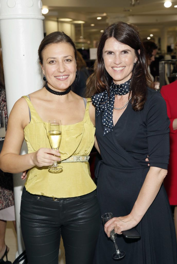Adrianna Campan and Fiona Cummins  at the launch of Peter O Brien for Arnotts collection and the Arnotts Autumn Winter 2016 launch (Photo by Kieran Harnett).