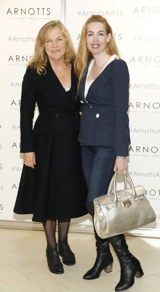 Anne Harris and Fiona Foy Holland  at the launch of Peter O Brien for Arnotts collection and the Arnotts Autumn Winter 2016 launch (Photo by Kieran Harnett).