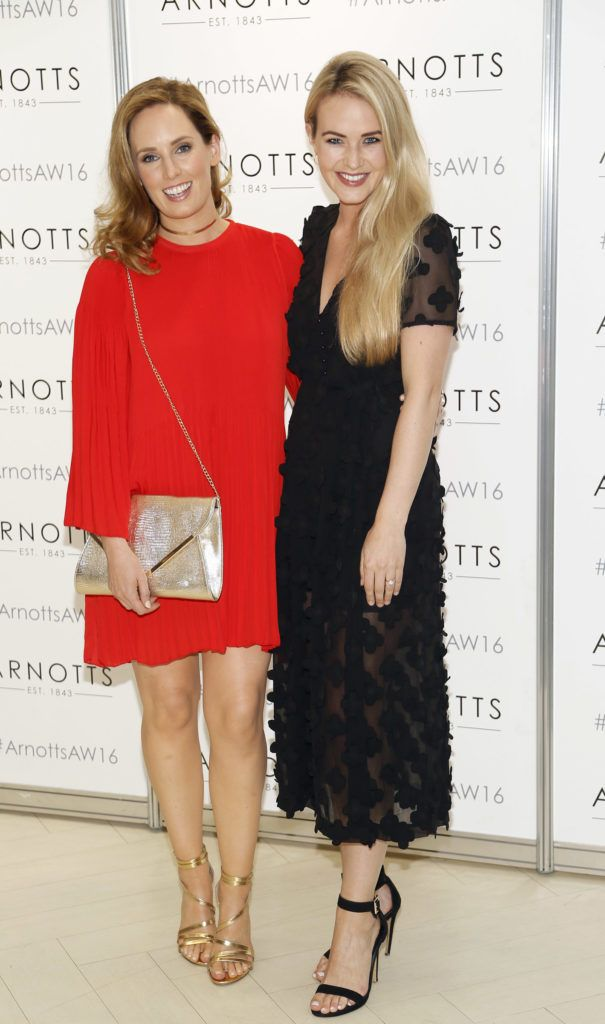 Aoibheann McCaul and Aoibhin Garrihy  at the launch of Peter O Brien for Arnotts collection and the Arnotts Autumn Winter 2016 launch (Photo by Kieran Harnett).