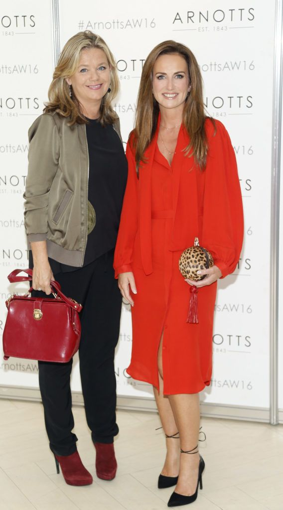 Deborah Veale and Lorraine Keane  at the launch of Peter O Brien for Arnotts collection and the Arnotts Autumn Winter 2016 launch (Photo by Kieran Harnett).