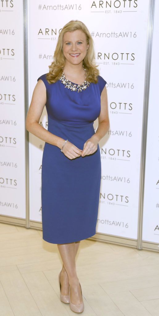 Nuala Carey  at the launch of Peter O Brien for Arnotts collection and the Arnotts Autumn Winter 2016 launch (Photo by Kieran Harnett).