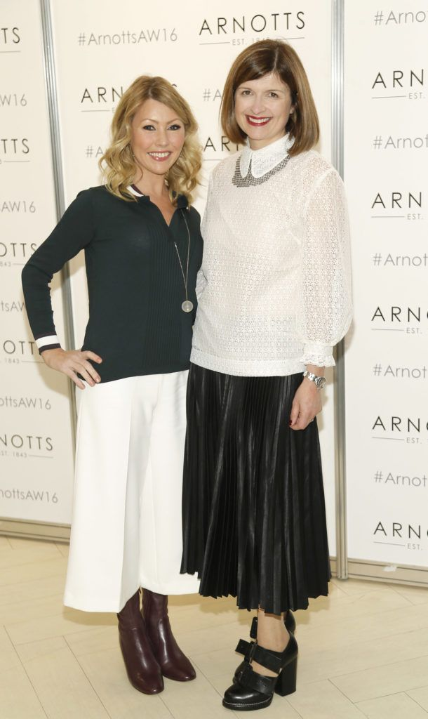 Sinead Considine and Ruth Monahan  at the launch of Peter O Brien for Arnotts collection and the Arnotts Autumn Winter 2016 launch (Photo by Kieran Harnett).