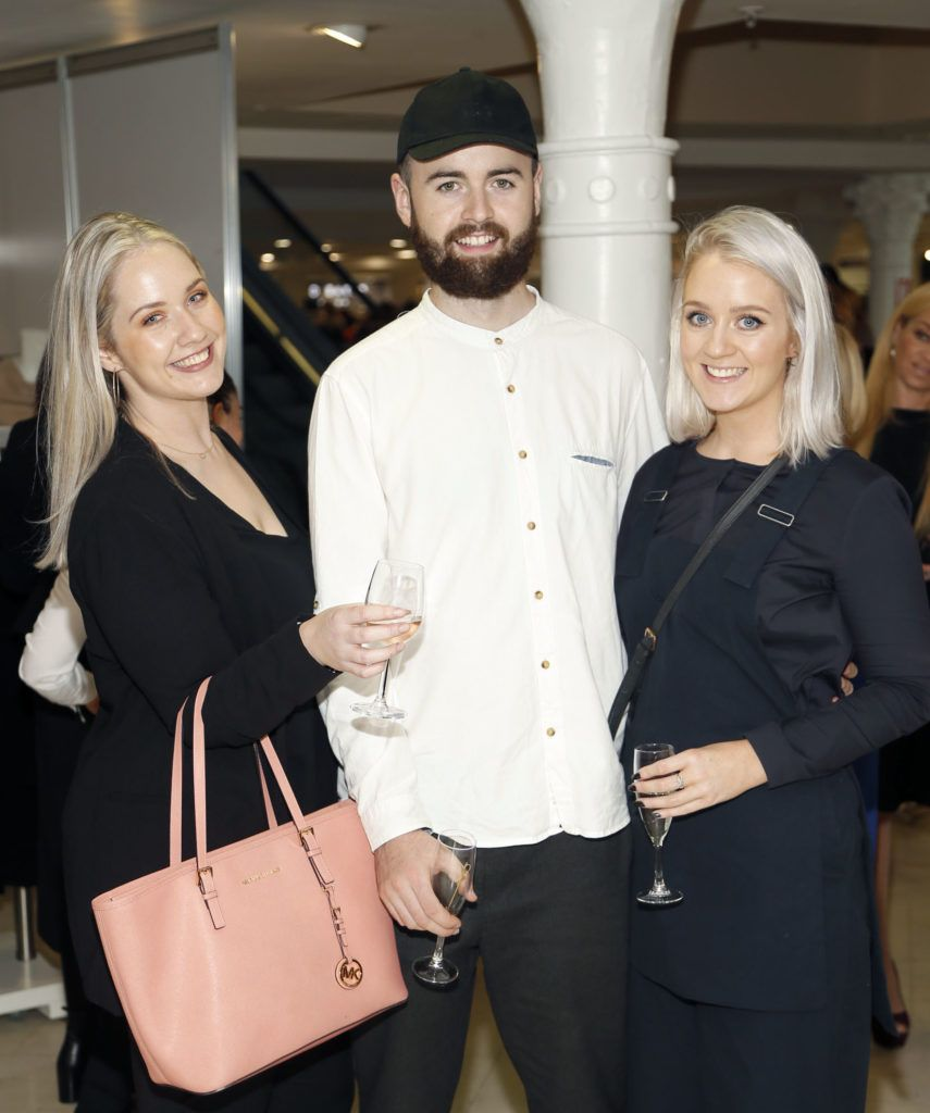 Leanne Egan, Ronan Healy and Laura Egan  at the launch of Peter O Brien for Arnotts collection and the Arnotts Autumn Winter 2016 launch (Photo by Kieran Harnett).