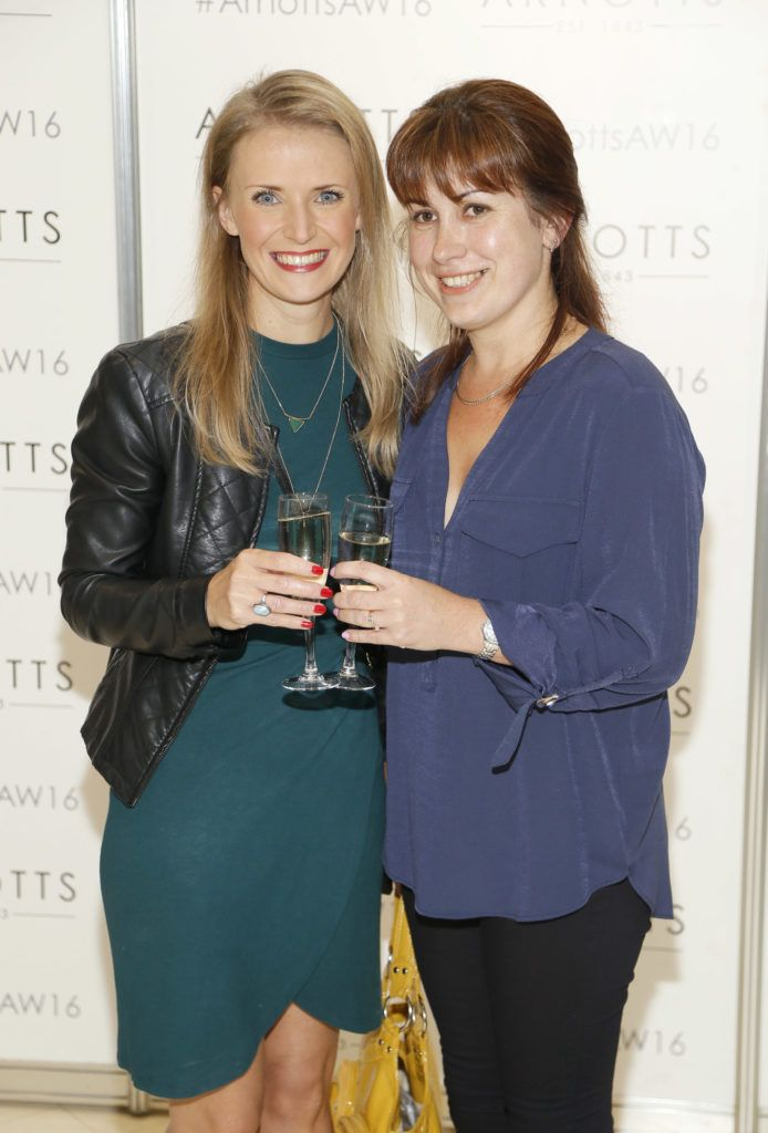 Natallia Zhahlova and Julia Roddy  at the launch of Peter O Brien for Arnotts collection and the Arnotts Autumn Winter 2016 launch (Photo by Kieran Harnett).