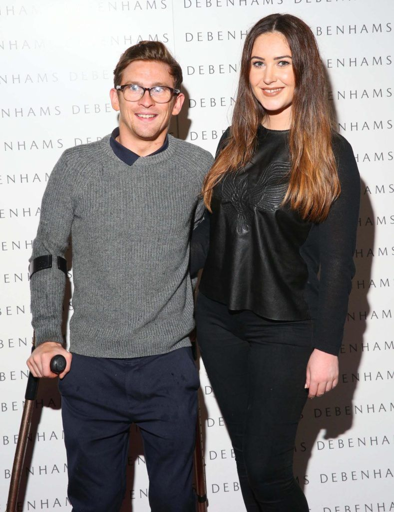 Pictured are Paddy Smyth and Orla McConnon as Debenhams showcased their AW16 collection last night in the stunning back drop of Christ Church Catherdral. Guests sipped on Mc Guigan Frizzante as 1st Options Model took to the Crypt catwalk for a show styled by top stylist Sonja Mohlich. Pic: Marc O'Sullivan