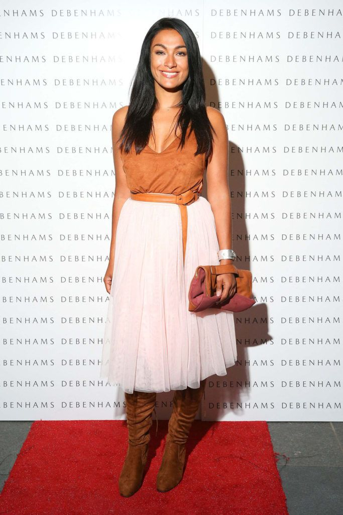 Pictured is Gail Kaneswaran as Debenhams showcased their AW16 collection last night in the stunning back drop of Christ Church Catherdral. Guests sipped on Mc Guigan Frizzante as 1st Options Model took to the Crypt catwalk for a show styled by top stylist Sonja Mohlich. Pic: Marc O'Sullivan