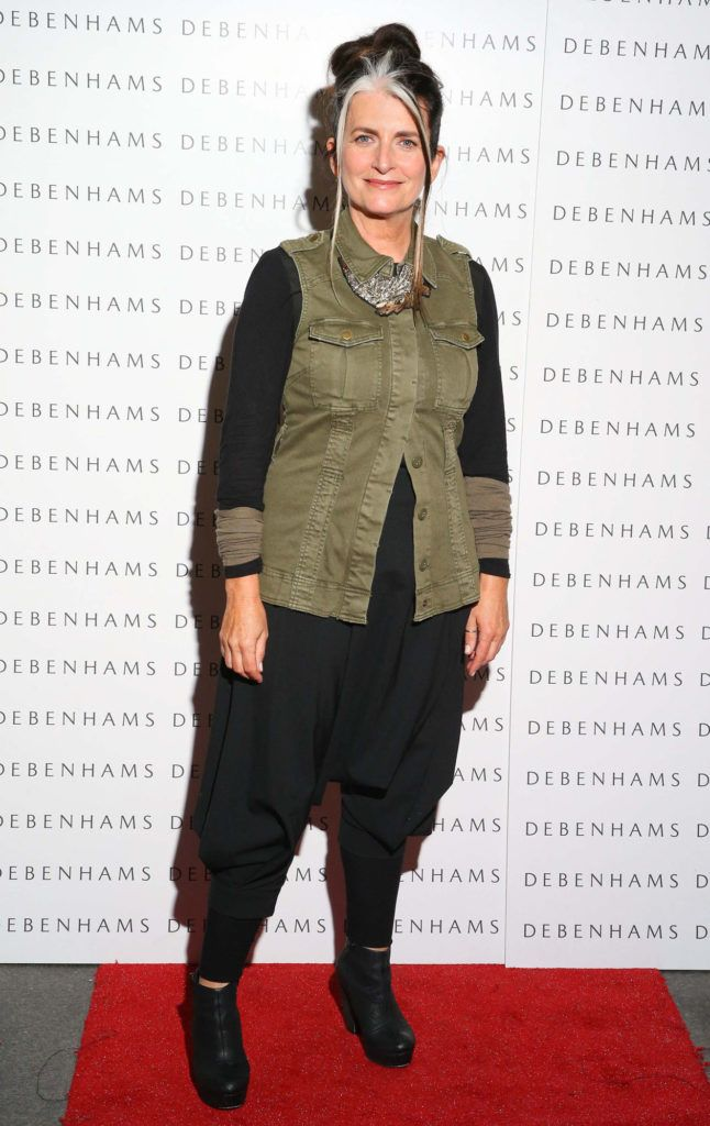 Pictured is Cathy O'Connor as Debenhams showcased their AW16 collection last night in the stunning back drop of Christ Church Catherdral. Guests sipped on Mc Guigan Frizzante as 1st Options Model took to the Crypt catwalk for a show styled by top stylist Sonja Mohlich. Pic: Marc O'Sullivan