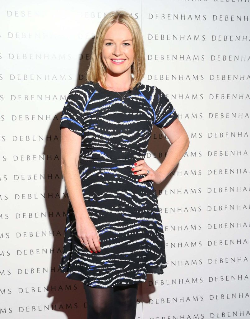 Pictured is Claire Byrne as Debenhams showcased their AW16 collection last night in the stunning back drop of Christ Church Catherdral. Guests sipped on Mc Guigan Frizzante as 1st Options Model took to the Crypt catwalk for a show styled by top stylist Sonja Mohlich. Pic: Marc O'Sullivan
