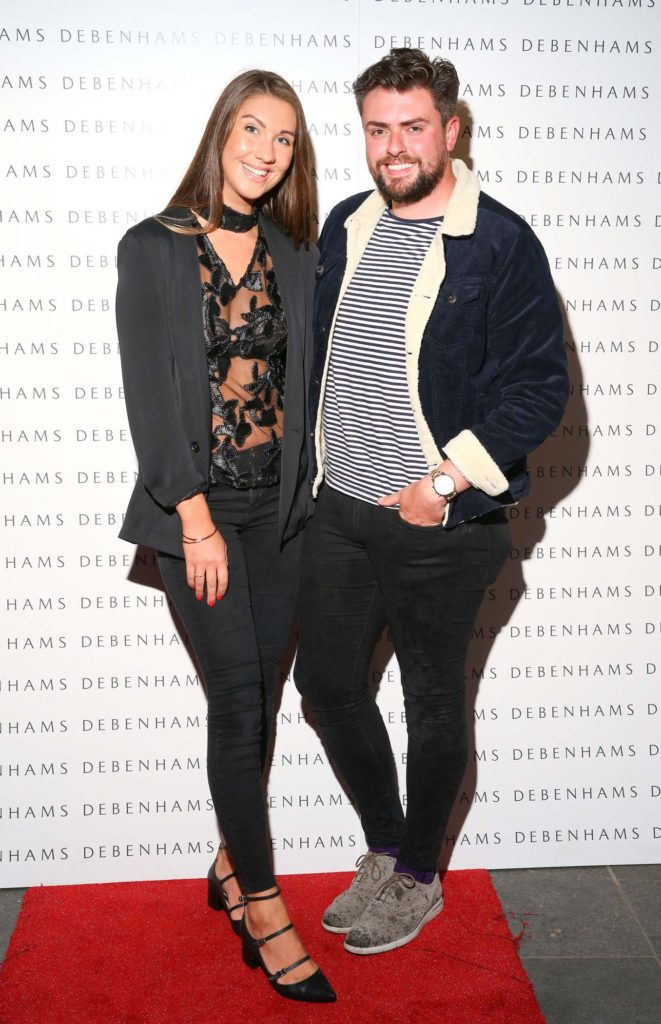 Pictured are Clementine MacNiece and James Butler as Debenhams showcased their AW16 collection last night in the stunning back drop of Christ Church Catherdral. Guests sipped on Mc Guigan Frizzante as 1st Options Model took to the Crypt catwalk for a show styled by top stylist Sonja Mohlich. Pic: Marc O'Sullivan