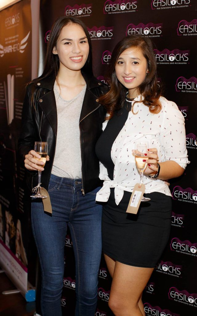 Mei Ling Tong and Narina Plunket pictured at the launch of Easilocks Home Care Range in the Cliff Townhouse, Dublin. Previously only available in Salons Easilocks will now be available in pharmacies nationwide. Picture Andres Poveda