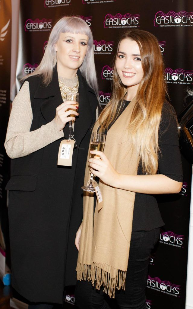 Nimah Aine Fox and Ciara Walsh pictured at the launch of Easilocks Home Care Range in the Cliff Townhouse, Dublin. Previously only available in Salons Easilocks will now be available in pharmacies nationwide. Picture Andres Poveda