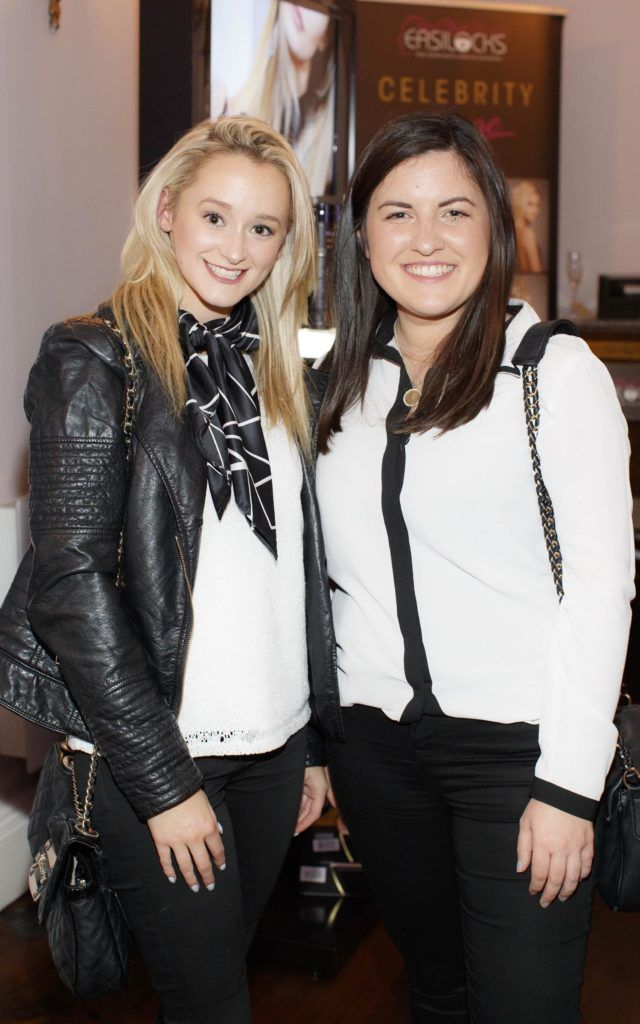 Lorraine Booth and Amanda Durnin pictured at the launch of Easilocks Home Care Range in the Cliff Townhouse, Dublin. Previously only available in Salons Easilocks will now be available in pharmacies nationwide. Picture Andres Poveda