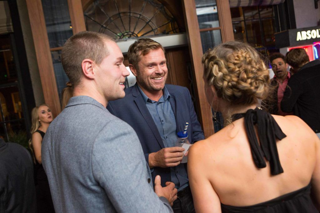 Henry Daly Michael Sharpe and Aoife Kelly enjoying Highline at Sophie's in The Dean, a New York Late Night Vibe in Dublin's only rooftop venue. Photo by Richie Stokes