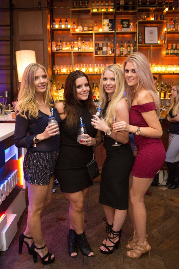 Allison Farrell Rachel Camejo Emma Farrell and Lucy Walsh enjoying Highline at Sophie's in The Dean, a New York Late Night Vibe in Dublin's only rooftop venue. Photo by Richie Stokes