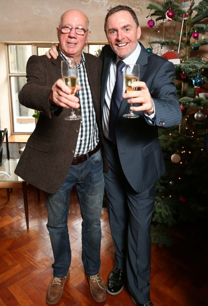 Charlie Collins and Chris Doyle, pictured at the National Lottery Christmas Lunch held in the Drury Buildings, Dublin. Pic. Robbie Reynolds