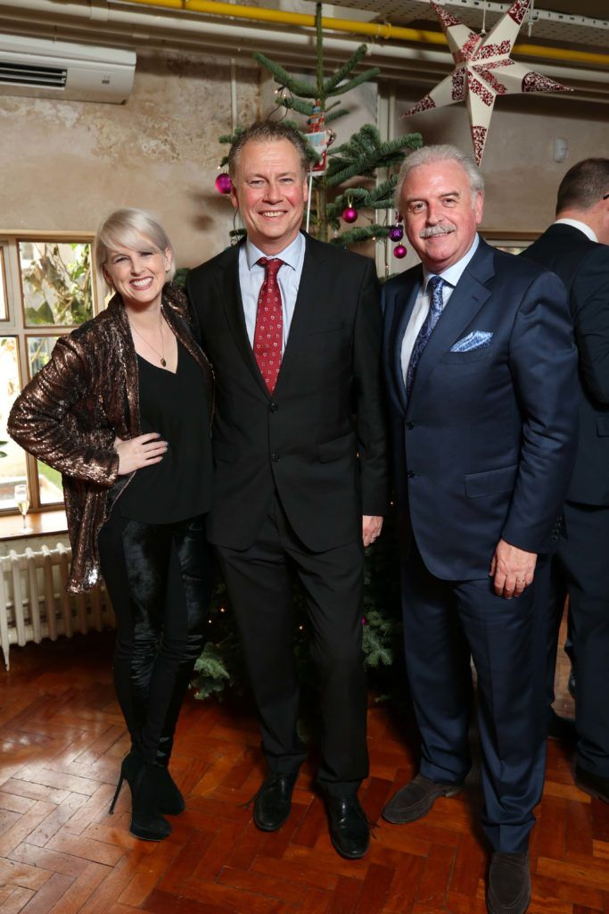 Sinead Kennedy with Dermot Griffin and Marty Whelan, pictured at the National Lottery Christmas Lunch held in the Drury Buildings, Dublin. Pic. Robbie Reynolds