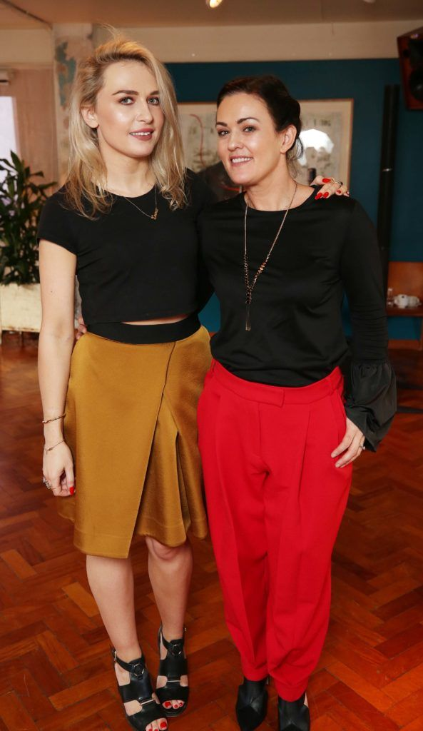 Emma Williams and Fiona Hodgins, pictured at the National Lottery Christmas Lunch held in the Drury Buildings, Dublin. Pic. Robbie Reynolds