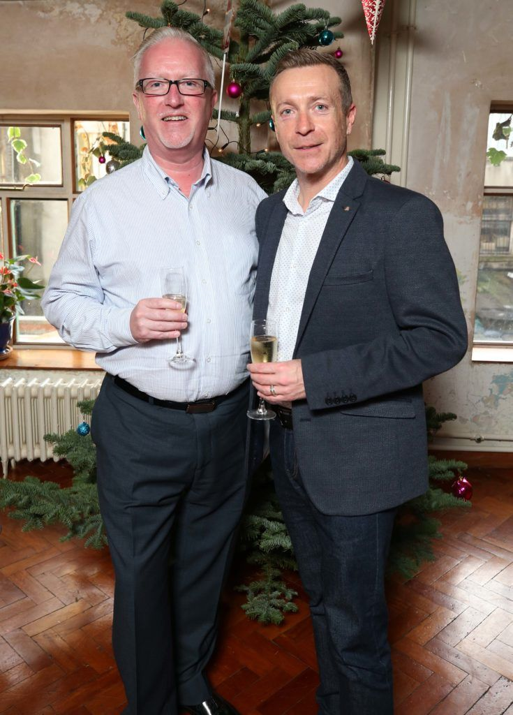 Billy O'Keeffe and Bryan Walshe, pictured at the National Lottery Christmas Lunch held in the Drury Buildings, Dublin. Pic. Robbie Reynolds