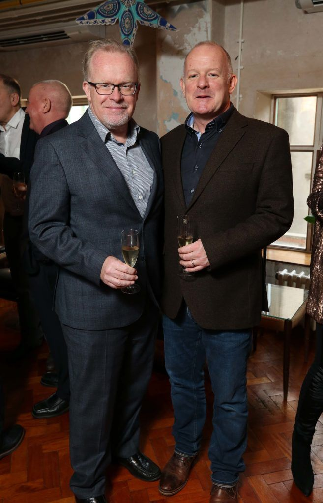 Willie O'Reilly and Frank Dillon, pictured at the National Lottery Christmas Lunch held in the Drury Buildings, Dublin. Pic. Robbie Reynolds