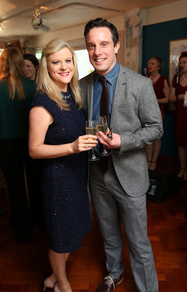 Nuala Carey and Declan Buckley, pictured at the National Lottery Christmas Lunch held in the Drury Buildings, Dublin. Pic. Robbie Reynolds