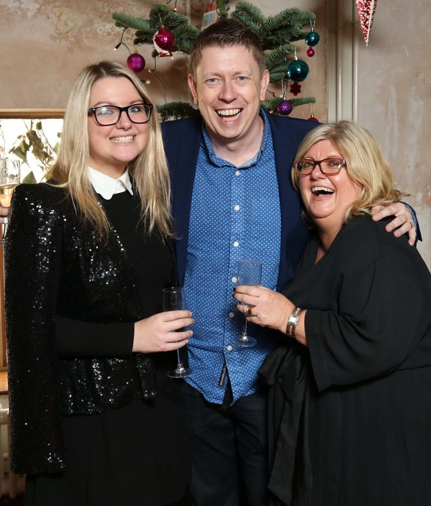 Grace Waller, Michael Cahill and Siobhan Hough, pictured at the National Lottery Christmas Lunch held in the Drury Buildings, Dublin. Pic. Robbie Reynolds