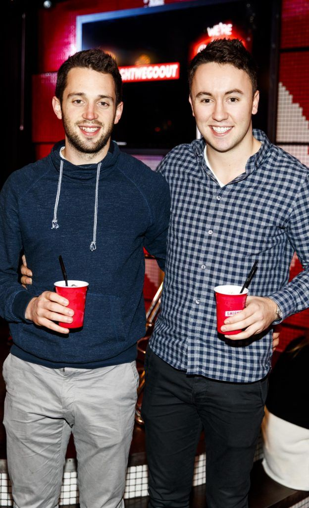 Tom Foley and Hugh O'Flannagan pictured at the Smirnoff 'We're Open' event in Panti Bar in Dublin, hosted by Panti Bliss. Picture Andres Poveda