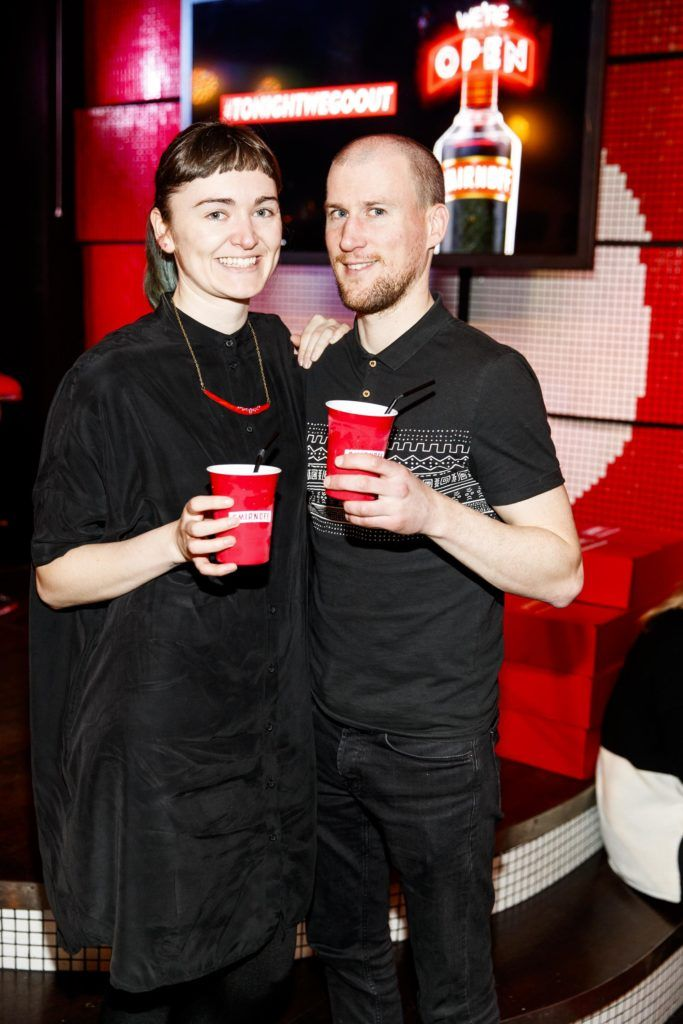 Elaine Burke and Colin White pictured at the Smirnoff 'We're Open' event in Panti Bar in Dublin, hosted by Panti Bliss. Picture Andres Poveda