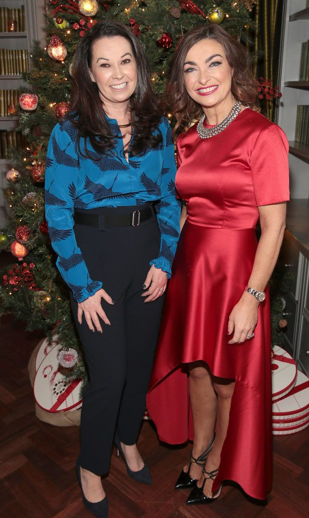 Sharon Griffin and Oonagh O Hagan  pictured at the Xpose Meaghers Pharmacy Festive Beauty Banquet at the Dylan Hotel ,Dublin. Picture:Brian McEvoy