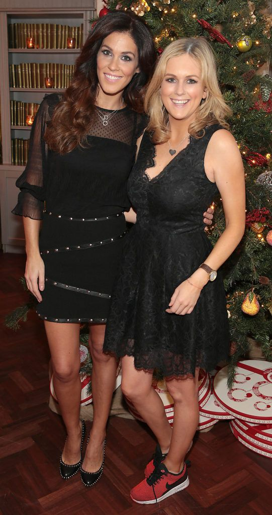 Glenda Gilson and Cassie Stokes  pictured at the Xpose Meaghers Pharmacy Festive Beauty Banquet at the Dylan Hotel ,Dublin. Picture:Brian McEvoy