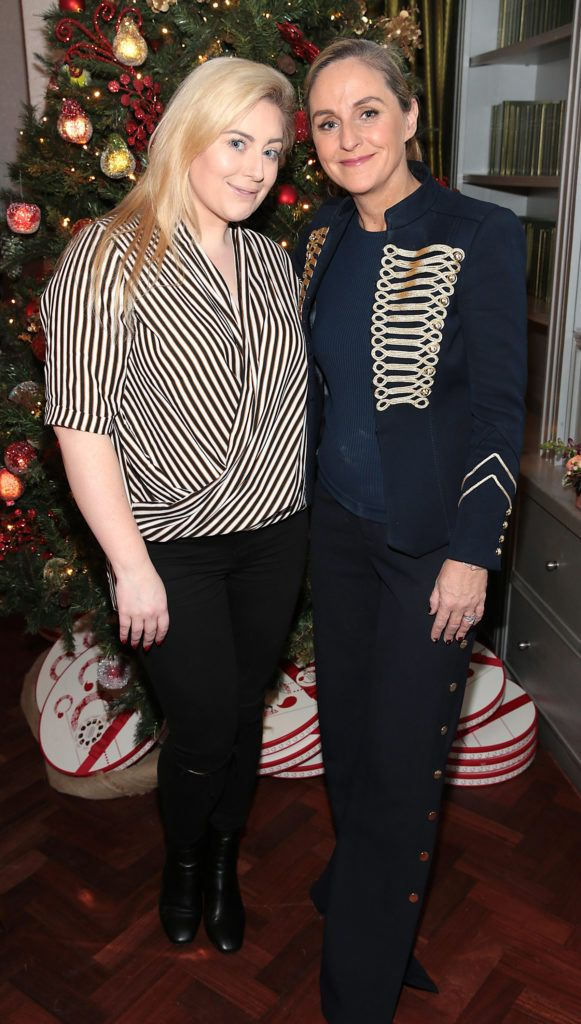 Debbie O Donnell and Cliona Kelly pictured at the Xpose Meaghers Pharmacy Festive Beauty Banquet at the Dylan Hotel ,Dublin. Picture:Brian McEvoy