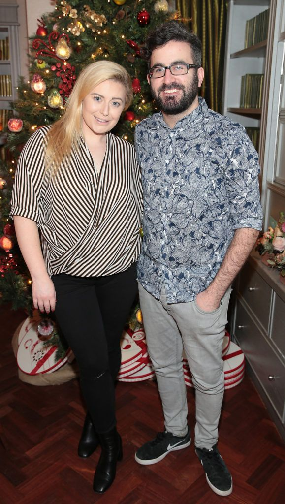 Cliona Kelly and Patrick Kavanagh  pictured at the Xpose Meaghers Pharmacy Festive Beauty Banquet at the Dylan Hotel ,Dublin. Picture:Brian McEvoy