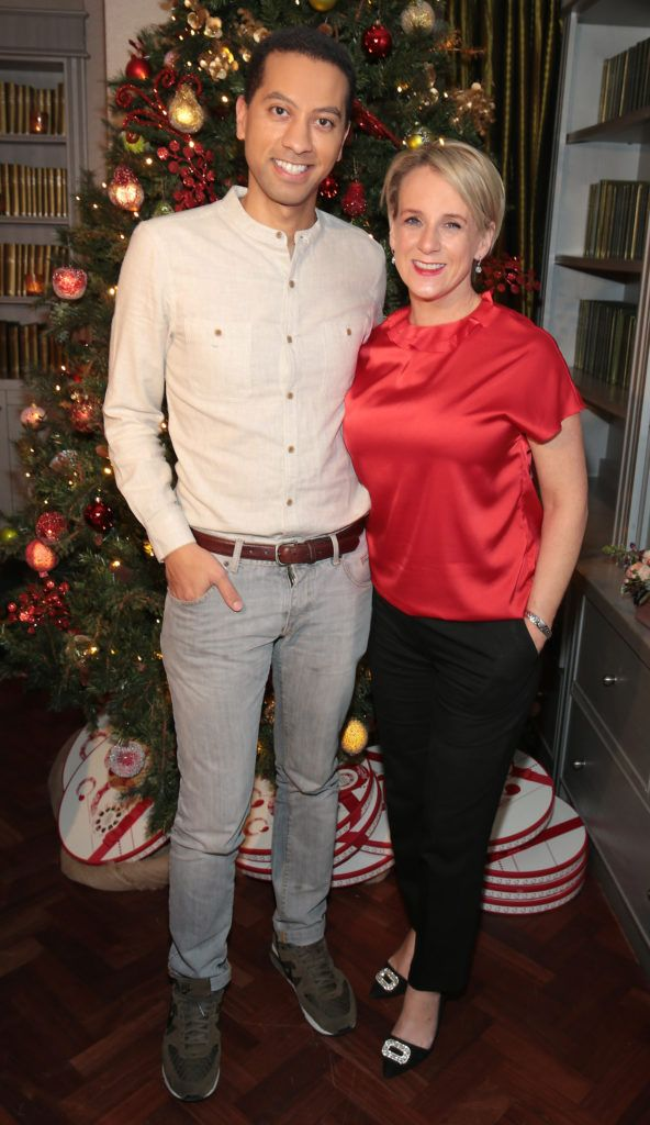 Sean Munsanje and Sybil Mulcahy  pictured at the Xpose Meaghers Pharmacy Festive Beauty Banquet at the Dylan Hotel ,Dublin. Picture:Brian McEvoy