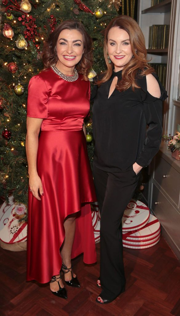Oonagh O Hagan and Mairead Ronan  pictured at the Xpose Meaghers Pharmacy Festive Beauty Banquet at the Dylan Hotel ,Dublin. Picture:Brian McEvoy