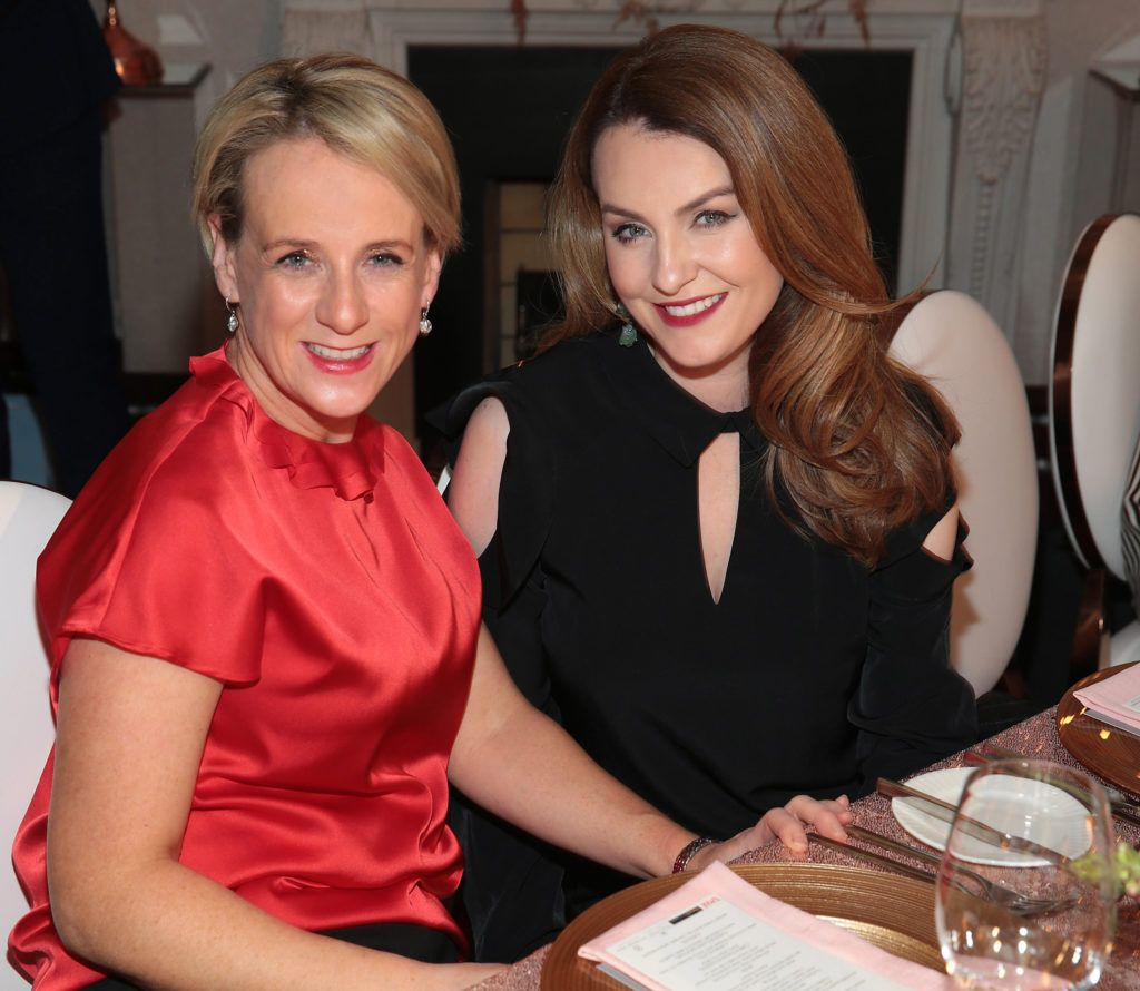 Sybil Mulcahy and  Mairead Ronan  pictured at the Xpose Meaghers Pharmacy Festive Beauty Banquet at the Dylan Hotel ,Dublin. Picture:Brian McEvoy