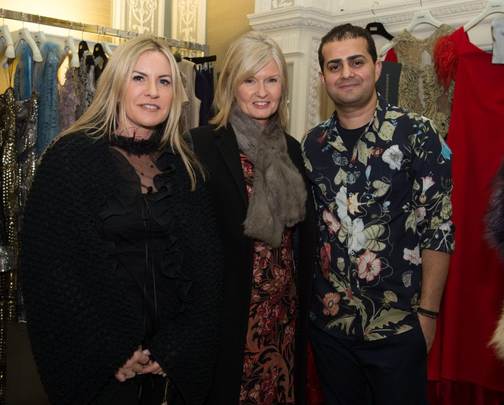 Joan Sharkey and Michelle Bennett with Umit Kutluk , pictured last night at the Umit Kutluk Spring/Summer 2017 preview.