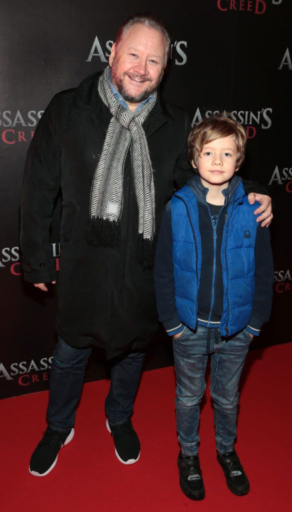 Stephen McCormack and Milo McCormack pictured at the special preview screening of Assassin's Creed at the Savoy Cinema Dublin (Picture Brian McEvoy).