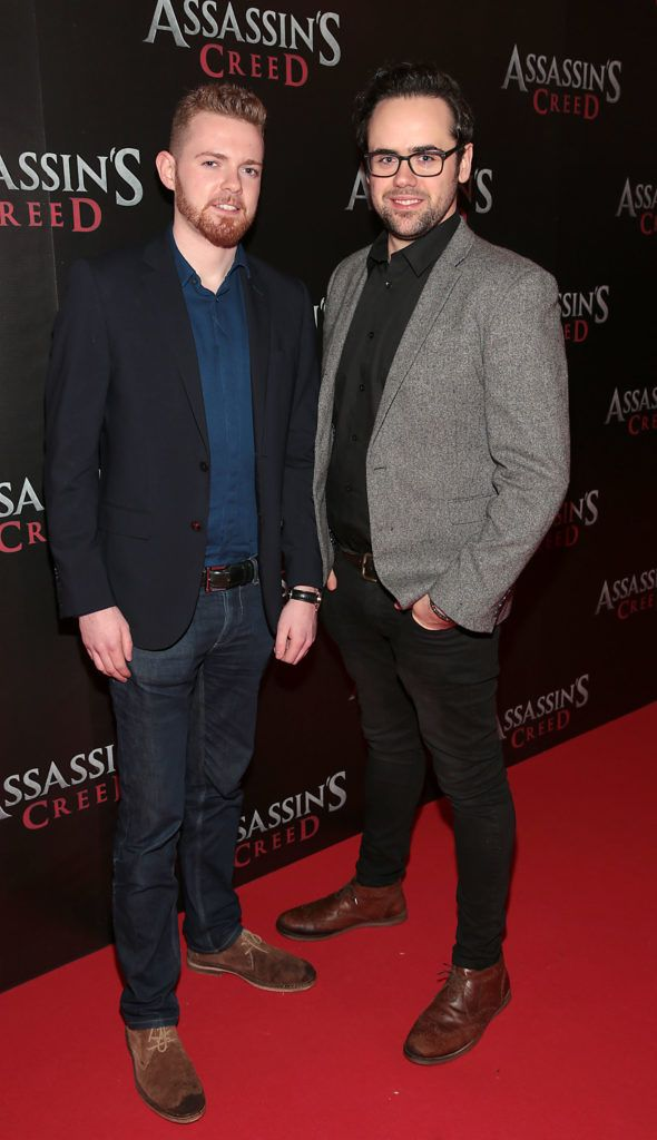 Paul Thompstone and Steven Hall pictured at the special preview screening of Assassin's Creed at the Savoy Cinema Dublin (Picture Brian McEvoy).