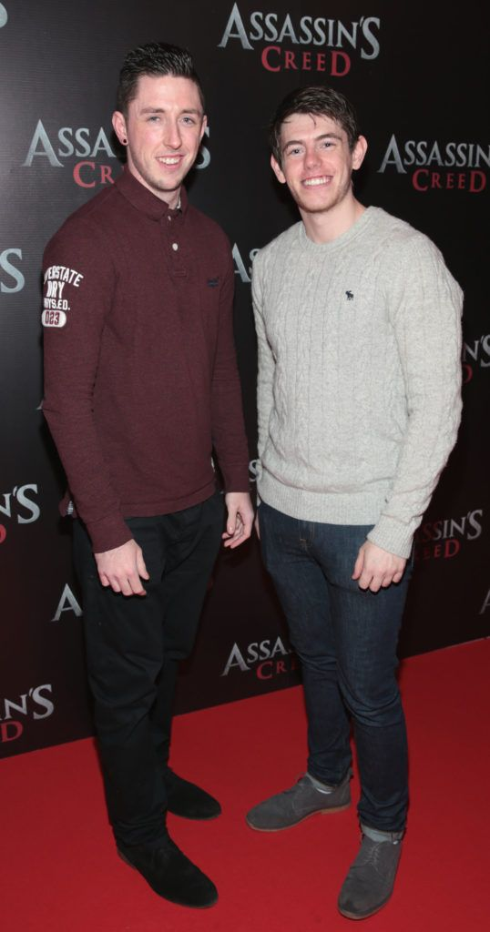 Barry McKay and Darren Gaffney pictured at the special preview screening of Assassin's Creed at the Savoy Cinema Dublin (Picture Brian McEvoy).