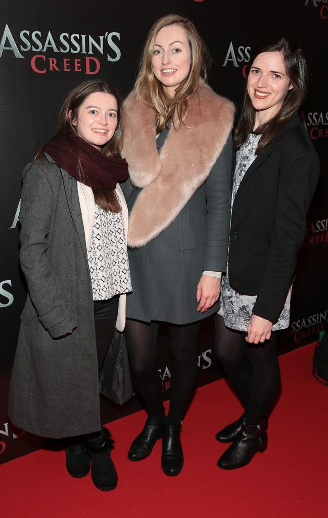 Miriam King, Rebecca Scott and Deirdre Molumby pictured at the special preview screening of Assassin's Creed at the Savoy Cinema Dublin (Picture Brian McEvoy).