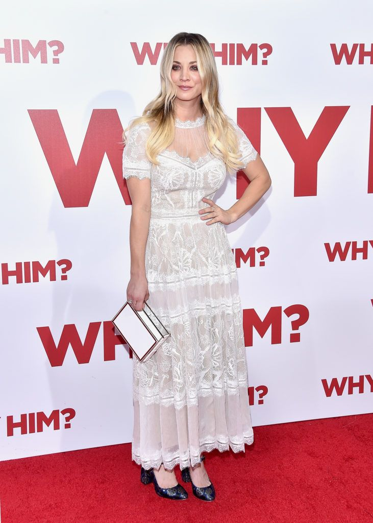 "Kaley Cuoco attends the premiere of 20th Century Fox's ""Why Him?"" at Regency Bruin Theater on December 17, 2016 in Westwood, California.  (Photo by Mike Windle/Getty Images)"