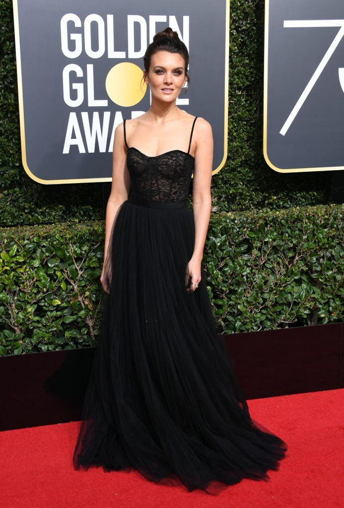 Frankie Shaw arrives for the 75th Golden Globe Awards on January 7, 2018, in Beverly Hills, California. / AFP PHOTO / VALERIE MACON        (Photo credit should read VALERIE MACON/AFP/Getty Images)