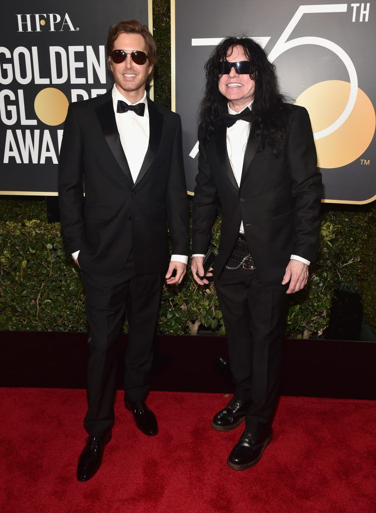 BEVERLY HILLS, CA - JANUARY 07:  Tommy Wiseau (R) and actor Gregory Sestero attends The 75th Annual Golden Globe Awards at The Beverly Hilton Hotel on January 7, 2018 in Beverly Hills, California.  (Photo by Alberto E. Rodriguez/Getty Images)