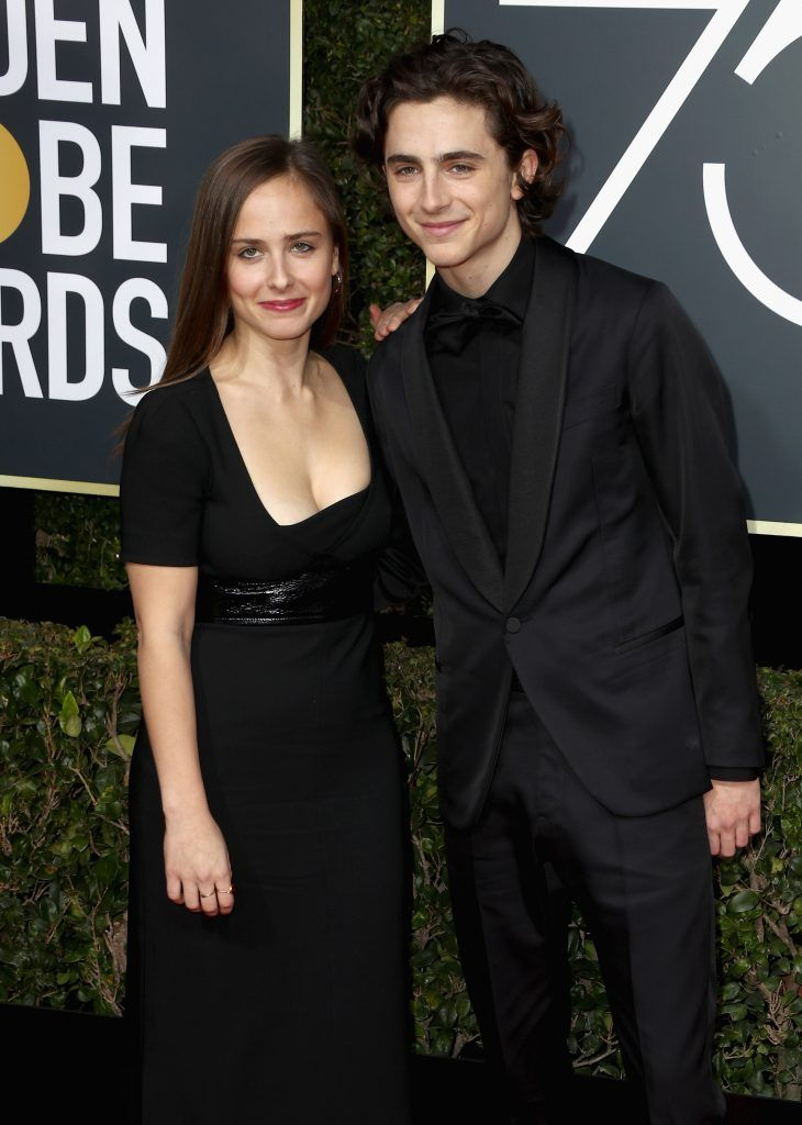 BEVERLY HILLS, CA - JANUARY 07:  Timothee Chalamet (R) attends The 75th Annual Golden Globe Awards at The Beverly Hilton Hotel on January 7, 2018 in Beverly Hills, California.  (Photo by Frederick M. Brown/Getty Images)