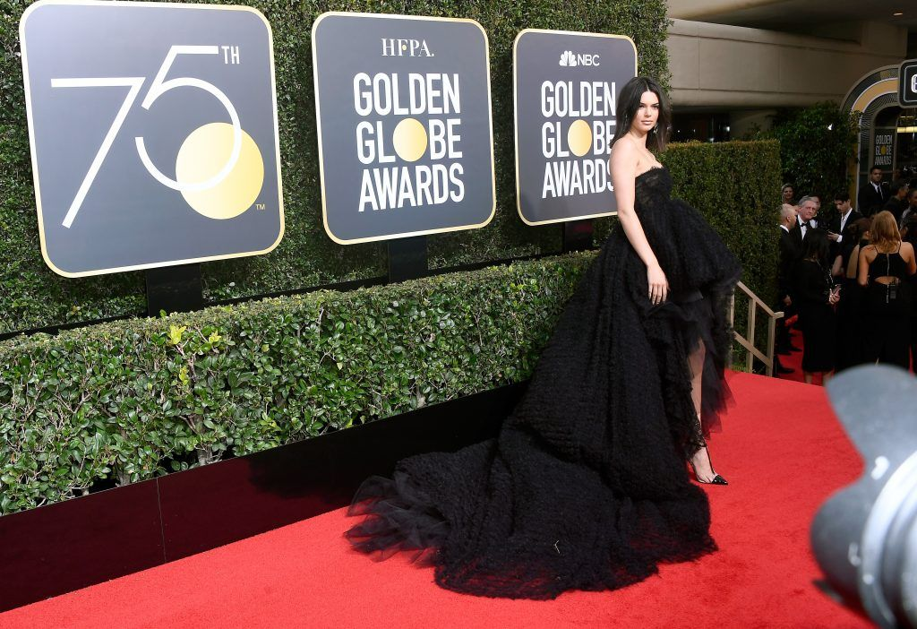 BEVERLY HILLS, CA - JANUARY 07:  Kendall Jenner attends The 75th Annual Golden Globe Awards at The Beverly Hilton Hotel on January 7, 2018 in Beverly Hills, California.  (Photo by Frazer Harrison/Getty Images)