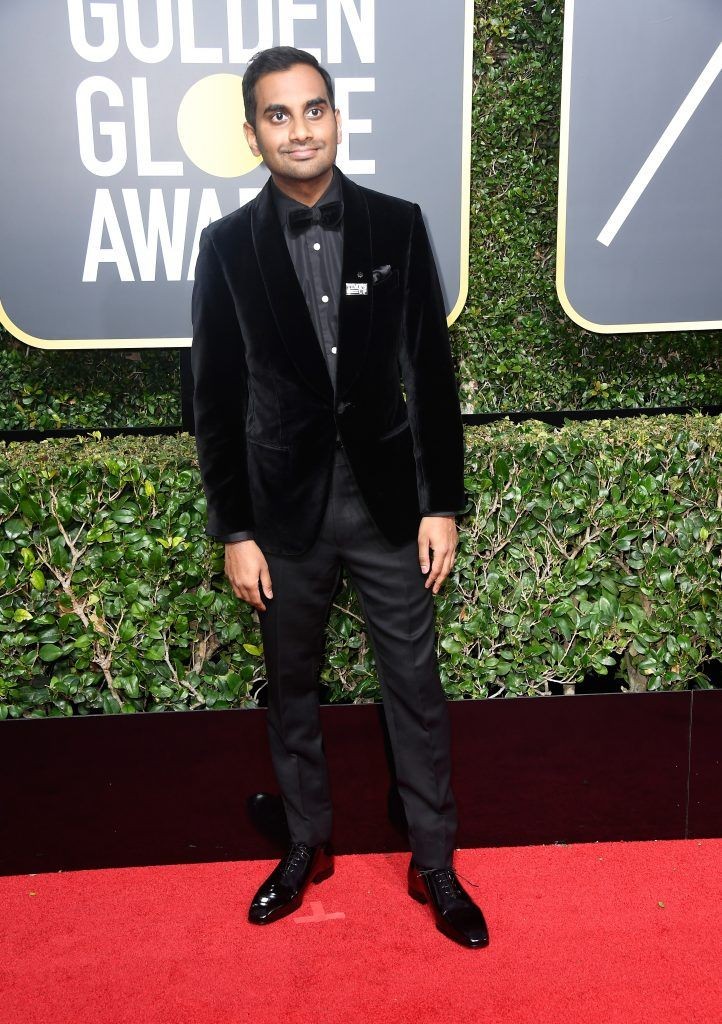 BEVERLY HILLS, CA - JANUARY 07:  Aziz Ansari attends The 75th Annual Golden Globe Awards at The Beverly Hilton Hotel on January 7, 2018 in Beverly Hills, California.  (Photo by Frazer Harrison/Getty Images)